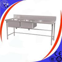 China Stainless Steel Double Bowl Sink With Work Table on sale