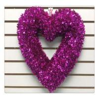 China Valentine's Day Wreath RED Heart Tinsel Ornaments Hanging Door Wreath on sale