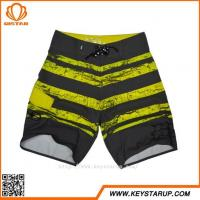 China Men's Yellow And Black Striped Boardwalk Physique Swimming Board Shorts Custom Logo on sale