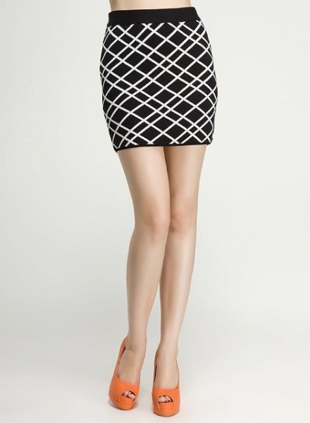 Cheap Fall Winter Ladies Cotton Novelty Stitch Knitted Bust Skirt with Contrast Color for sale
