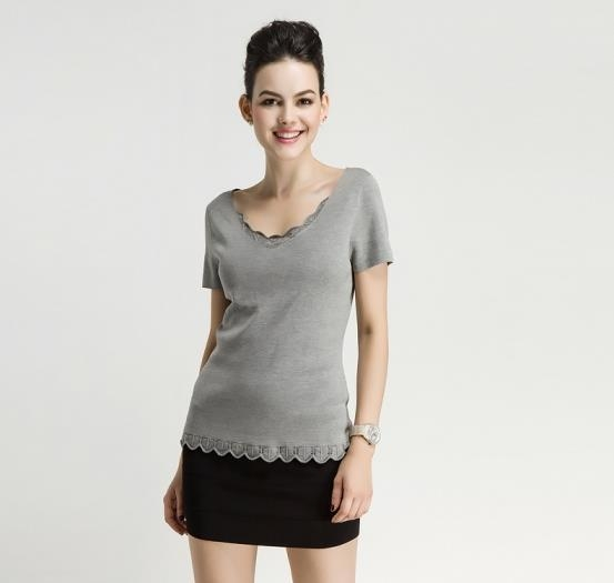 Cheap Fall Winter Silk Ladies Knitted V Neck Short Sleeve Sweater Pullover with Flounces for sale