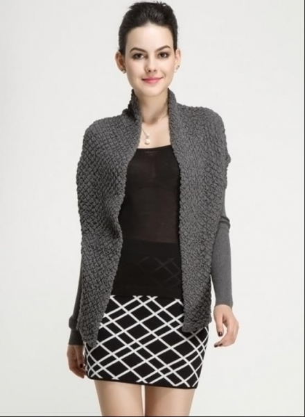 Cheap Fall Winter Ladies Cotton Novelty Stitch Knitted Long Sleeve Cardigan Waistcoat with Belt for sale