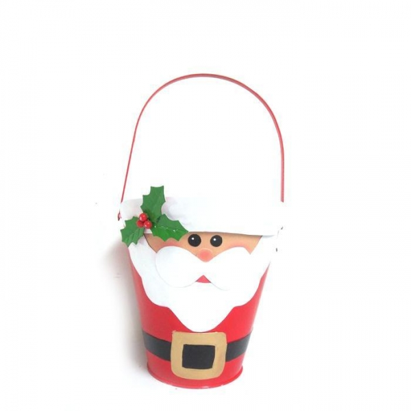 Cheap Metal Santa Bucket Round/ Red/ Lacquered With Handle for sale