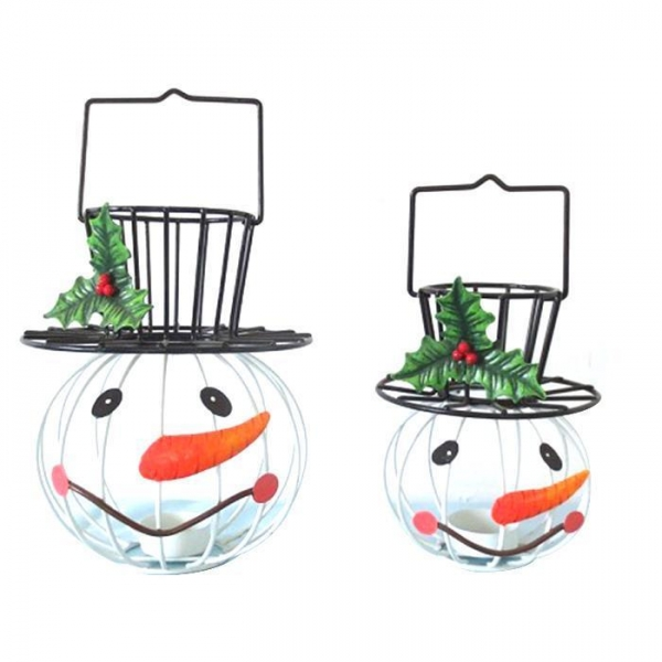 Cheap metal Hanging Tea light snowman Candle holder for Christmas decoration for sale