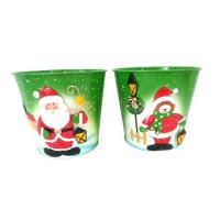 Best Christmas tin planter bucket Metal Santa/snowman/bear With garden Design wholesale