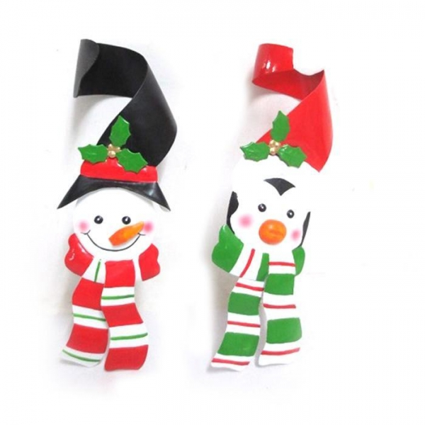 Cheap Metal Wine Bottle Cover With Snowman And Penguin Christmas Bottle Decor for sale