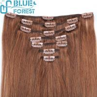Buy cheap Wholesale High Quality Any Color Straight 20inch Grade 7A Aliexpress Virgin Clips In/On Hair Extensi from wholesalers