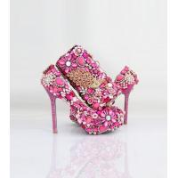 China Aidocrystal handmade top designer peach color italian shoes and bags bridal shoes and matching bags on sale