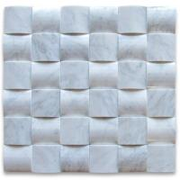 Buy cheap Italy Bianco Carrara Marble 3D Cambered Mosaic Tile from wholesalers