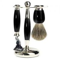 China Mark Of A Gentleman 3 Piece Mach3 Pure Badger Shave Set - Black on sale