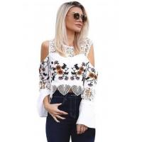 China New Arrivals White Crochet Cold Shoulder Bell Sleeve Crop Top on sale