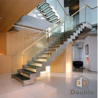 Best Double Stringer Glass Straight Staircase with Glass Tread wholesale
