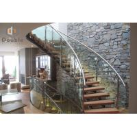 Best Luxury Curved Staircase in Glass Tread and Glass Railing wholesale