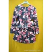 Buy cheap 35%cotton 60%polyester 5%spandex girls printing flower zipper round neck cardigan and skirt from wholesalers