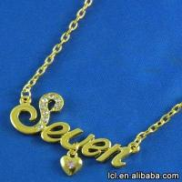 China Hot sale letter pendant nameplate necklace, latest design imitation gold necklace wholesale on sale