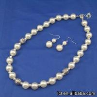 China Best quality small pearl jewelry necklace set, hot sale heavy pearl necklace set on sale