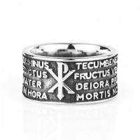 China Punk Wide Mens Titanium Rings With Hail Marry on sale