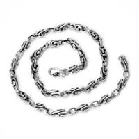China 925 Sterling Silver Personalized Elliptic Ring Link Vintage Men's Chain Necklace - 5.7mm Wide on sale