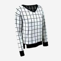 China V-neck grid ladies pullover sweater DMJ-SW169 on sale