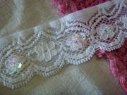 China White Stretch Beaded Sequins bugle Scalloped Lace Trim 1 3/8 W on sale