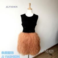 China JJ-16101 LADY'S DRESS IN DOUBLE FACE WOOL FABRIC AND TIBET FUR AW15FURCOLLECTION on sale