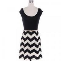 China Popular striped printed scoop neck knee length casual dress designs on sale