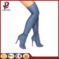 China blue high heel over knee jean boots on sale