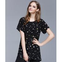 China Clothing Silk crepe de chine printed T shirt on sale