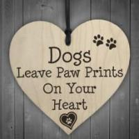 China WOODEN HEART - 100mm - Dogs Paw Prints on sale