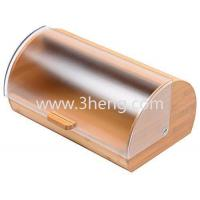 Best Bread Box made of pure Bamboo with stylish easy glide cover with handle wholesale