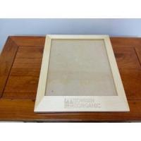 pine wood clear top photo frame with burned logo