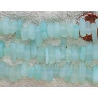 Cultured Sea Glass pebbles Beads 9x6mm 43L - Light Opaque Olive Green about 45 pcs per 8-in-str