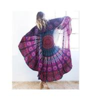 Buy cheap Hot Sales Red and Black Summer Large Round Multi-use Beach Fringed Silk-like Scarves for Womens from wholesalers