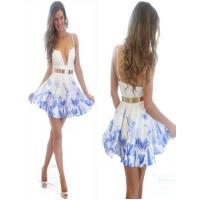 Best Women Fashion Flower Printed Prom Party Formal Dress in Chiffion wholesale