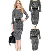 Best Black and White Long Sleeve Bodycon Skirt Dress for Ladies wholesale