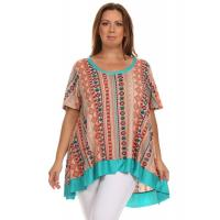 China Desere Plus-Size Women's Scoop Neck Tunic - Turquoise Aztec on sale
