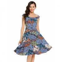 Buy cheap O-Neck Sleeveless Prints Back Zipper A-Line Pleated Dress from wholesalers