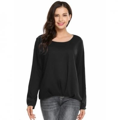 Cheap Solid Back Button O-Neck Long Sleeve Loose Chiffon Blouse for sale