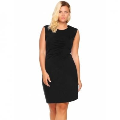 Cheap Sleeveless Ruched Solid Business Dress Plus Size for sale
