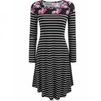 Best Floral Print Striped Long Sleeve Flared A-Line Dress wholesale