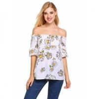 Buy cheap Off The Shoulder Lantern Sleeve Prints Sexy Blouse from wholesalers