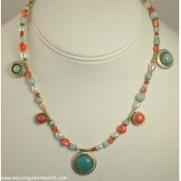 Best Striking Gold- plated Gemstone and Fresh Water Pearl Necklace Signed MICHAL GOLAN wholesale