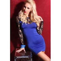 Best Blue Mini Dress with Black Lace Top and Long Lace Sleeves wholesale