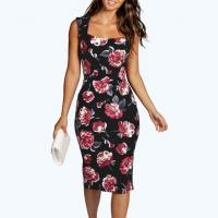 Buy cheap Scoop Neck Garden Floral Midi Dress Sleeveless Cut Out Back Pencil Dress from wholesalers
