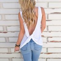 Buy cheap Cute Knotted Back Tank Tops Women Sexy Sleeveless Basic Shirts from wholesalers