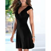 Buy cheap Crossover Ruched Swing Dress with Cap Sleeve Plunging Neck Fit and Flare Dress from wholesalers