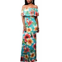 Buy cheap Must Have Ruffle Off the Shoulder Bohemian Dresses with Floral Print Summer 2017 from wholesalers