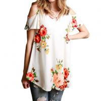 Buy cheap Best Sale Women's Cold Shoulder Tops Casual Oversized Blue T Shirts Blouses from wholesalers