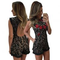 Buy cheap Sleeveless Embroidery Lace Romper Backless Bodycon from wholesalers