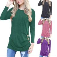 Best Women Fall Long Sleeve Going Out T Shirts With Button wholesale